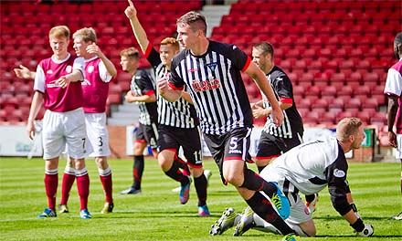 Callum Morris celebrates scoring v Arbroath