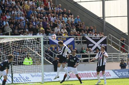 Pat Clarke heads Dunfermline's winner at the Falkirk Stadium