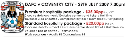 Coventry City Friendly Match Hospitality