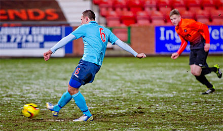 Stephen Husband converts penalty v Dundee United