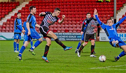 Shaun Byrne shoots for the second equaliser