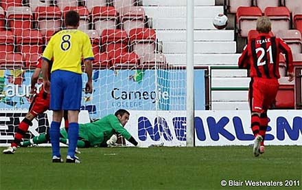 Paul Gallacher saves penalty