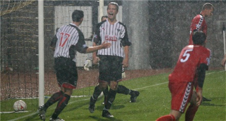 Paul Willis celebrates his goal